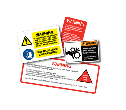 warning labels and signs